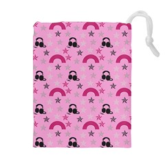 Music Stars Rose Pink Drawstring Pouches (extra Large)