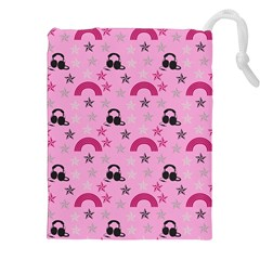 Music Stars Rose Pink Drawstring Pouches (xxl)