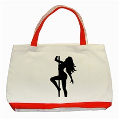 Dance Silhouette Pole Dancing Girl Classic Tote Bag (red)