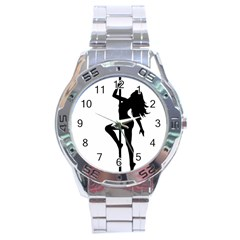 Dance Silhouette Pole Dancing Girl Stainless Steel Analogue Watch