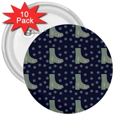 Blue Boots 3  Buttons (10 Pack)