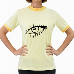 Drawn Eye Transparent Monster Big Women s Fitted Ringer T Shirts