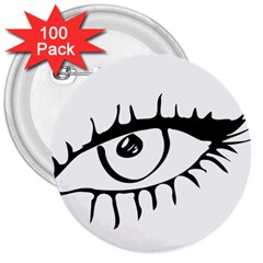 Drawn Eye Transparent Monster Big 3  Buttons (100 Pack)