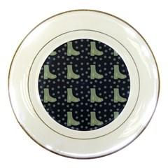 Blue Boots Porcelain Plates