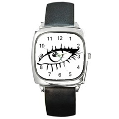 Drawn Eye Transparent Monster Big Square Metal Watch