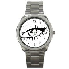 Drawn Eye Transparent Monster Big Sport Metal Watch