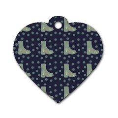 Blue Boots Dog Tag Heart (two Sides)