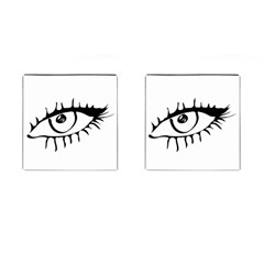 Drawn Eye Transparent Monster Big Cufflinks (square)