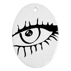 Drawn Eye Transparent Monster Big Oval Ornament (two Sides)