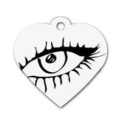 Drawn Eye Transparent Monster Big Dog Tag Heart (two Sides)