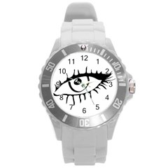 Drawn Eye Transparent Monster Big Round Plastic Sport Watch (l)