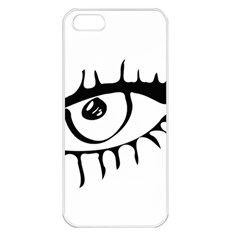 Drawn Eye Transparent Monster Big Apple Iphone 5 Seamless Case (white)