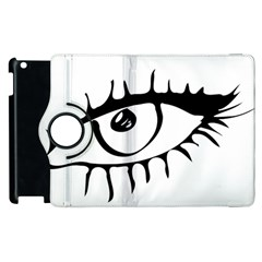Drawn Eye Transparent Monster Big Apple Ipad 2 Flip 360 Case