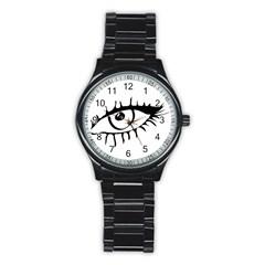 Drawn Eye Transparent Monster Big Stainless Steel Round Watch