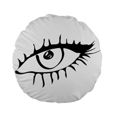 Drawn Eye Transparent Monster Big Standard 15  Premium Flano Round Cushions