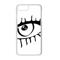 Drawn Eye Transparent Monster Big Apple Iphone 8 Plus Seamless Case (white)