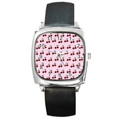 Pink Cherries Square Metal Watch