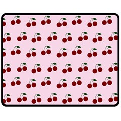 Pink Cherries Fleece Blanket (medium)