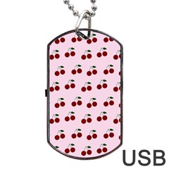 Pink Cherries Dog Tag Usb Flash (one Side)