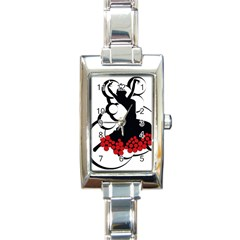 Flamenco Dancer Rectangle Italian Charm Watch