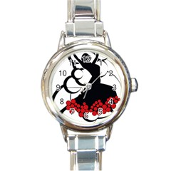 Flamenco Dancer Round Italian Charm Watch