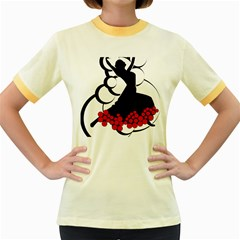 Flamenco Dancer Women s Fitted Ringer T Shirts