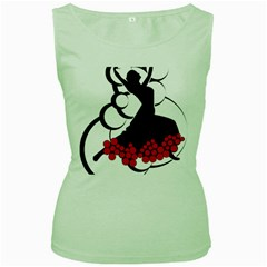 Flamenco Dancer Women s Green Tank Top
