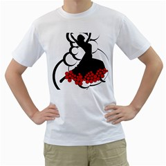 Flamenco Dancer Men s T Shirt (white) (two Sided)