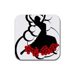 Flamenco Dancer Rubber Square Coaster (4 Pack)