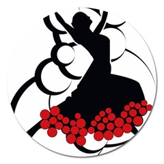 Flamenco Dancer Magnet 5  (round)