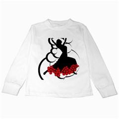 Flamenco Dancer Kids Long Sleeve T Shirts