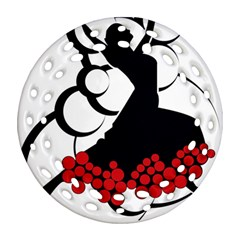 Flamenco Dancer Round Filigree Ornament (two Sides)