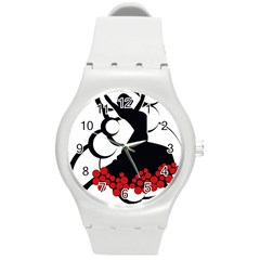 Flamenco Dancer Round Plastic Sport Watch (m)