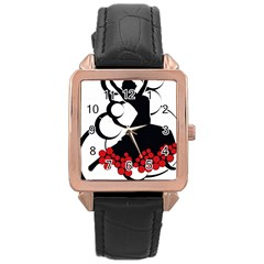 Flamenco Dancer Rose Gold Leather Watch