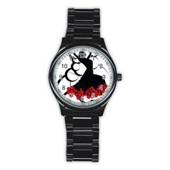 Flamenco Dancer Stainless Steel Round Watch