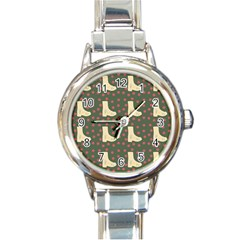 Green Boot Round Italian Charm Watch