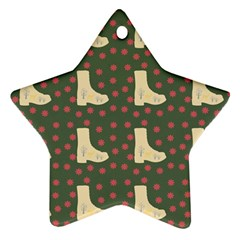 Green Boot Star Ornament (two Sides)