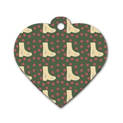 Green Boot Dog Tag Heart (two Sides)