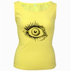 Big Eye Monster Women s Yellow Tank Top