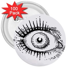 Big Eye Monster 3  Buttons (100 Pack)