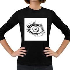 Big Eye Monster Women s Long Sleeve Dark T Shirts
