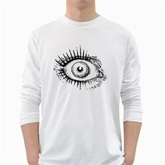 Big Eye Monster White Long Sleeve T Shirts
