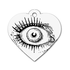 Big Eye Monster Dog Tag Heart (two Sides)
