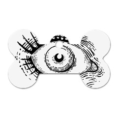 Big Eye Monster Dog Tag Bone (two Sides)