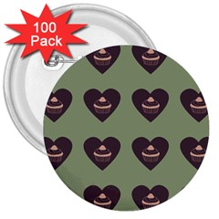 Cupcake Green 3  Buttons (100 Pack)