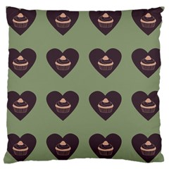 Cupcake Green Large Cushion Case (one Side)