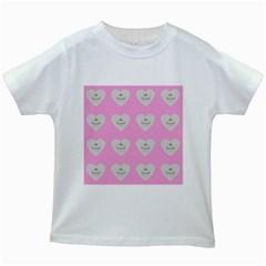 Cupcake Pink Grey Kids White T Shirts