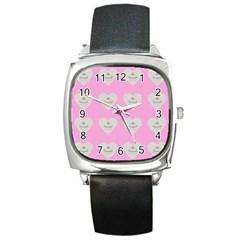 Cupcake Pink Grey Square Metal Watch