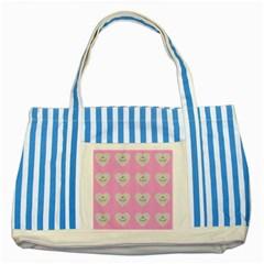 Cupcake Pink Grey Striped Blue Tote Bag