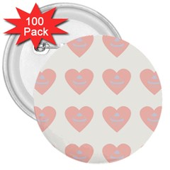 Cupcake White Pink 3  Buttons (100 Pack)